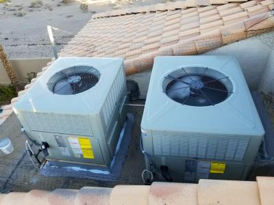 Installation of 4 & 3 Ton 14 Seer Trane R410A High efficiency gas rooftop units